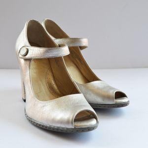 Born Patent High Heel Gold Silver metallic Sandals